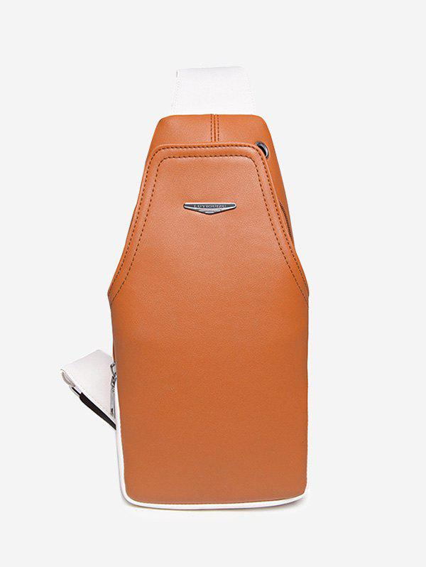 Color Block Faux Leather Front Crossbody Bag - ORANGE