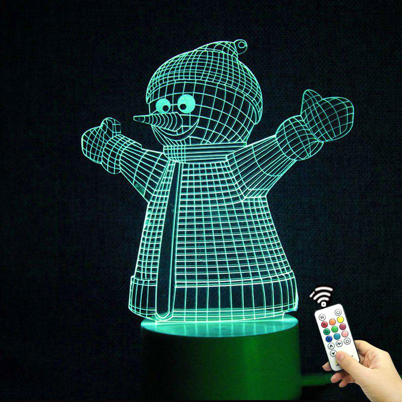 Color Change 3D Christmas Snowman Shape Remote Control Night Light - TRANSPARENT