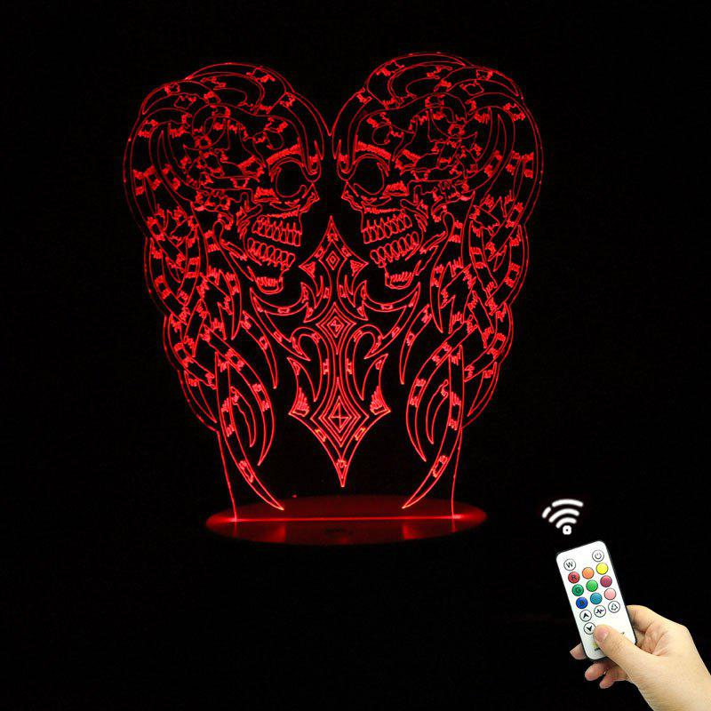 Halloween Two Skulls Shape Remote Control Changement de couleur Night Light - Transparent