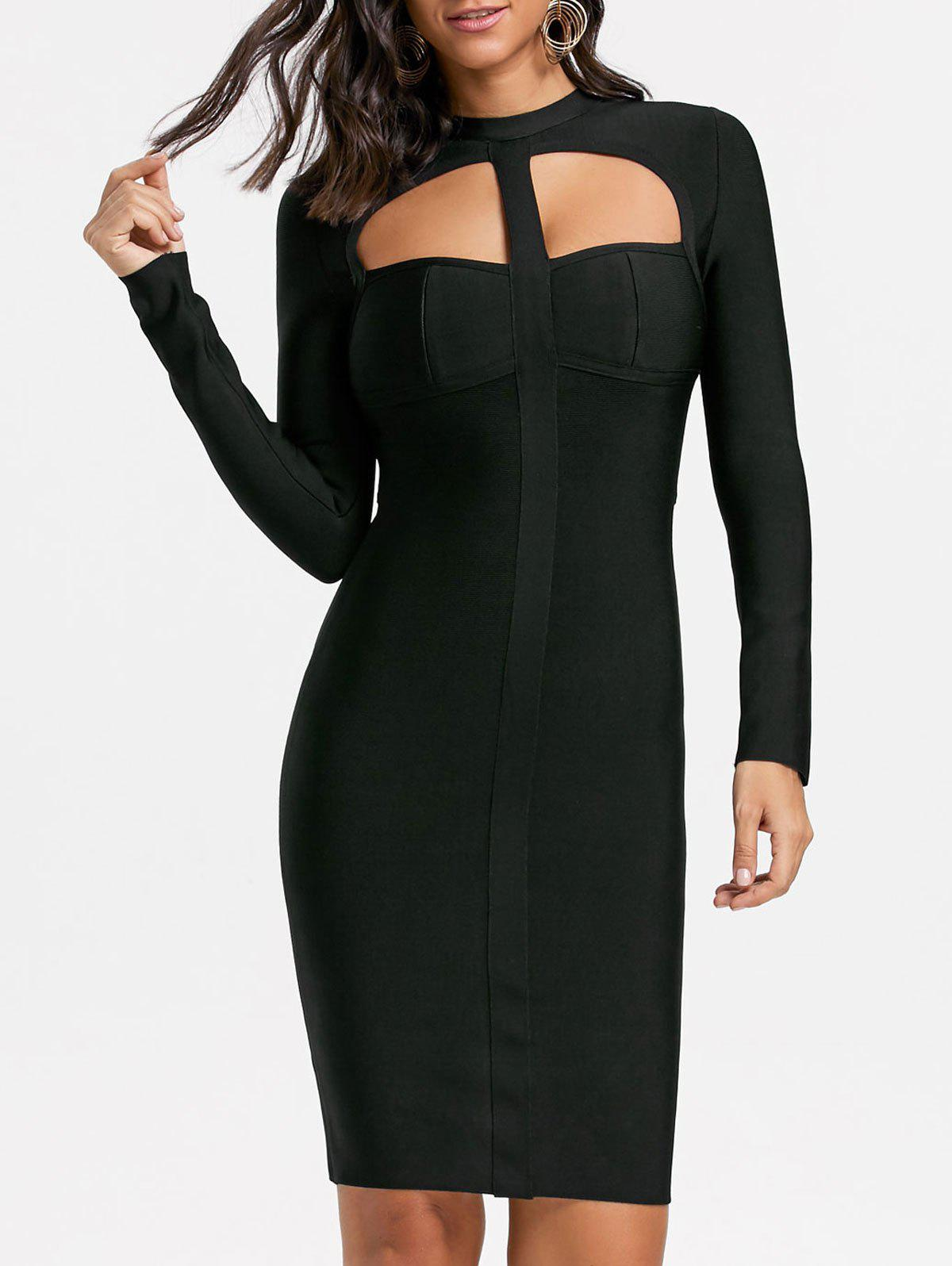 Long Sleeve Cut Out Club Bandage Dress - BLACK L