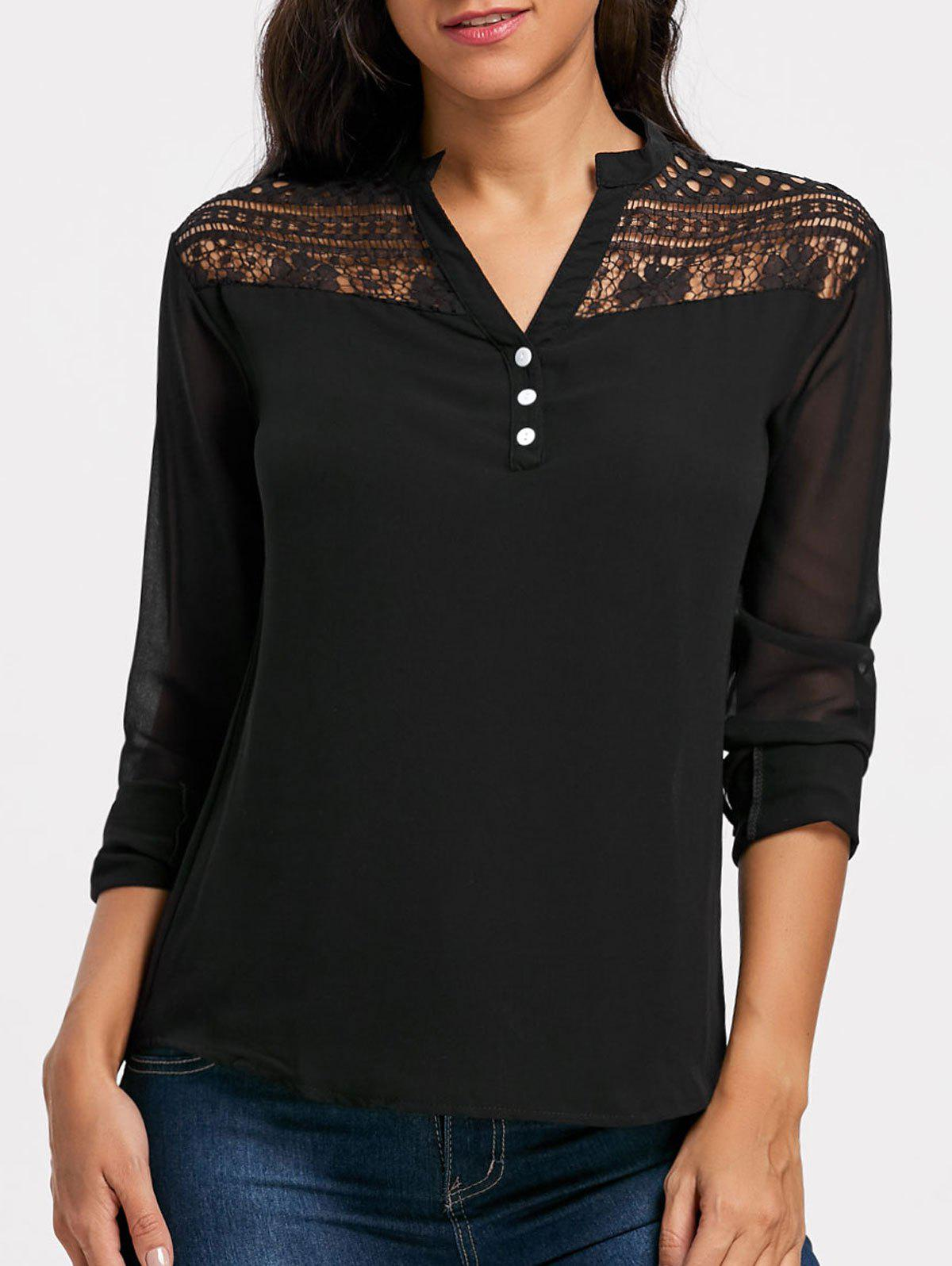 Lace Insert Sheer Chiffon Henley Blouse - BLACK L