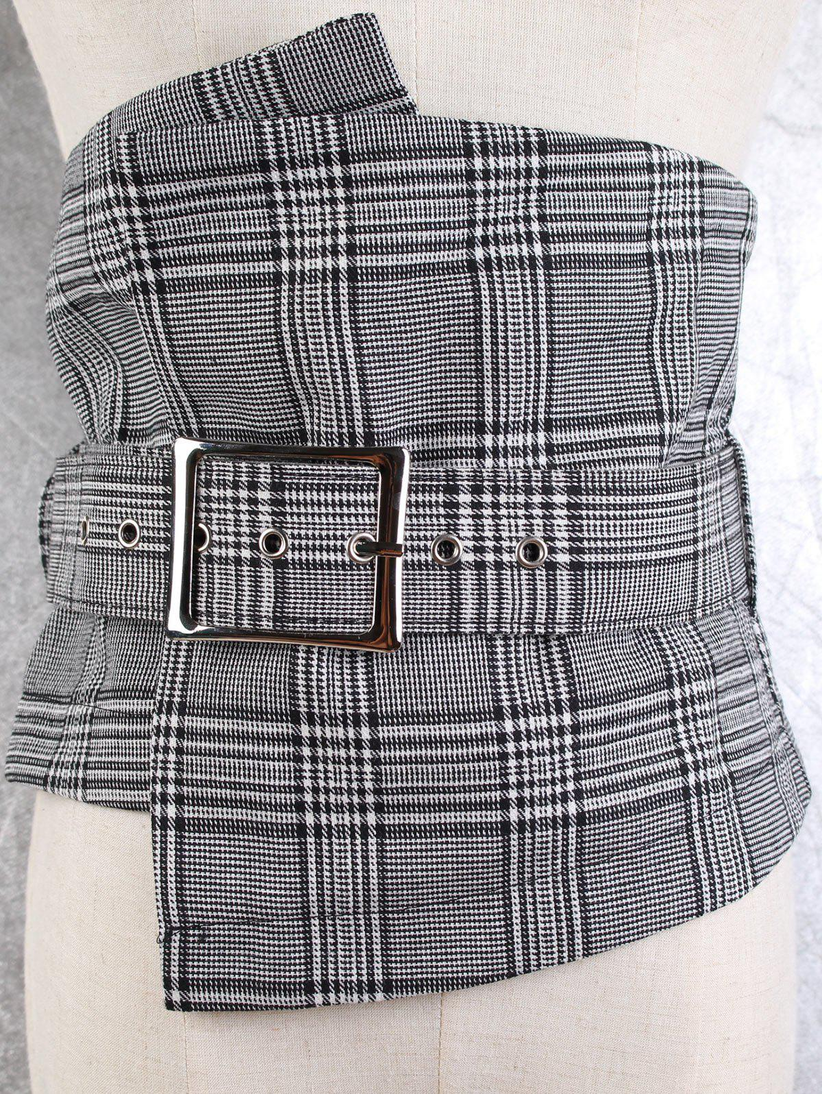 Big Pin Buckle High Waisted Corset Belt - CHECKED