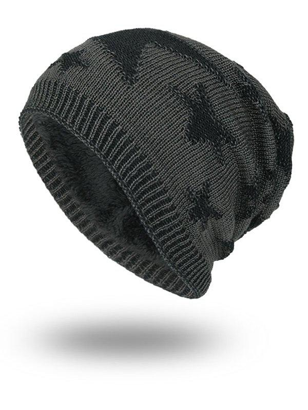 Oudoor Stars Pattern Embroidery Flocking Kint Beanie - DEEP GRAY
