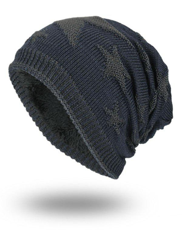 Oudoor Stars Pattern Embroidery Flocking Kint Beanie - STONE BLUE