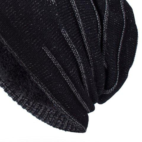 NY Double-Deck Thicken Knit Hat - Noir