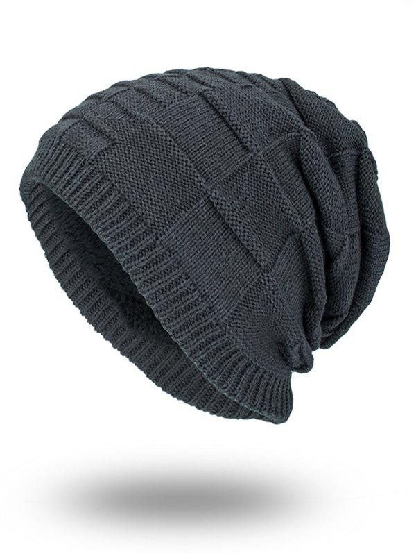 Velvet Stripe Plaid Bonnet Kint Beanie - GRAY