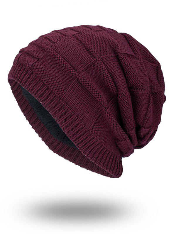 Velvet Stripe Plaid Bonnet Kint Beanie - WINE RED