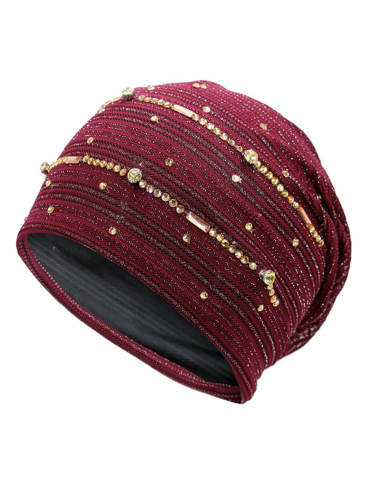 Rhinestone Decorated Golden Thread Lace Hat - WINE RED