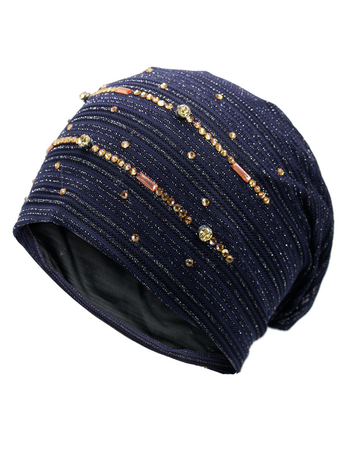 Rhinestone Decorated Golden Thread Lace Hat - PURPLISH BLUE