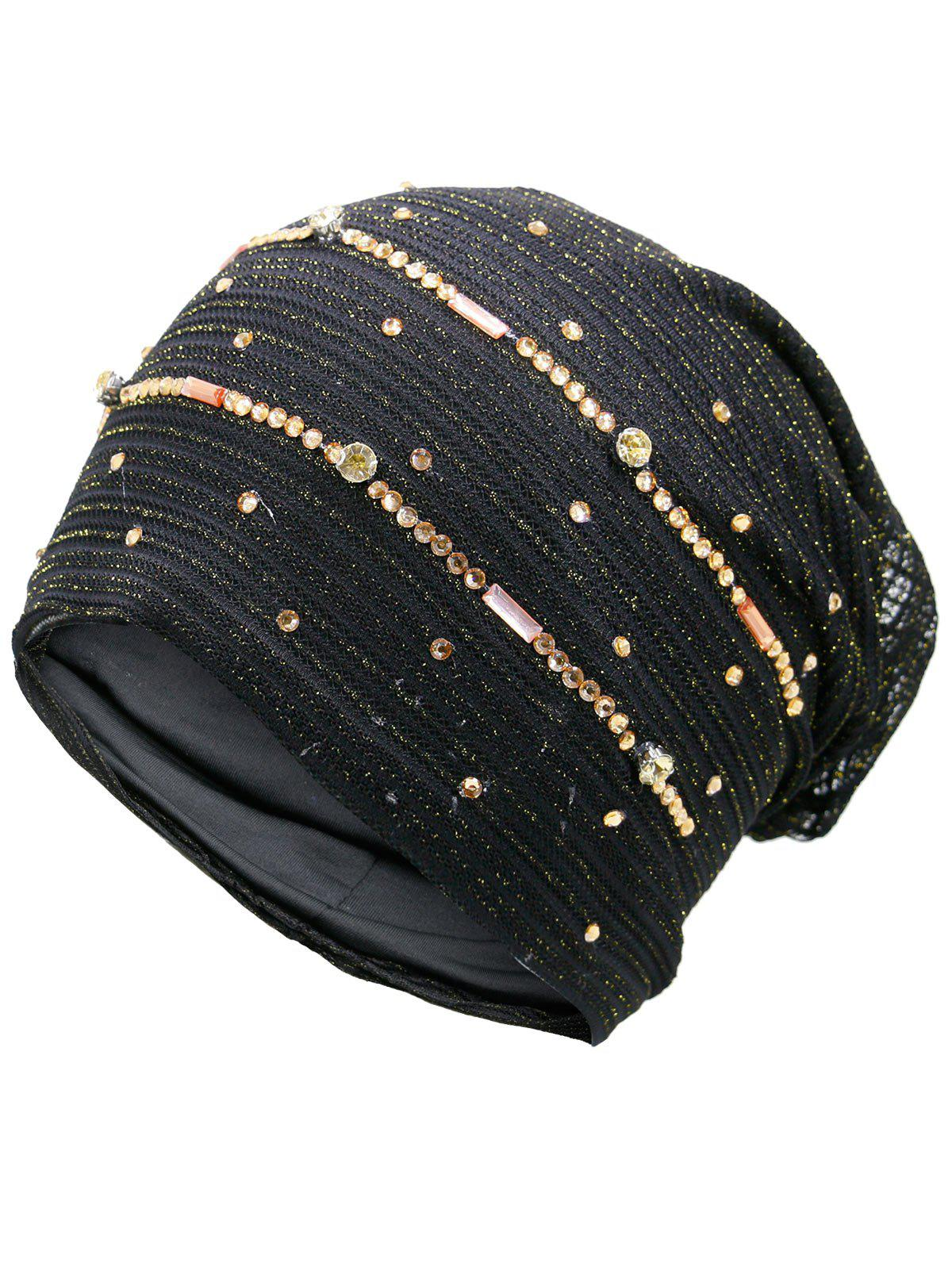 Rhinestone Decorated Golden Thread Lace Hat - BLACK