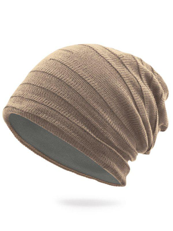 Plain Stripy Knit Hat - LIGHT KHAKI