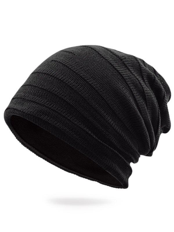 Plain Stripy Knit Hat - BLACK