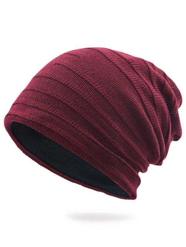 Plain Stripy Knit Hat - WINE RED