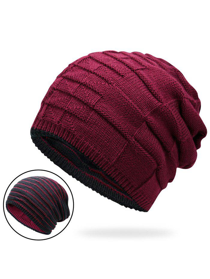 Reversible Color Block Knit Hat