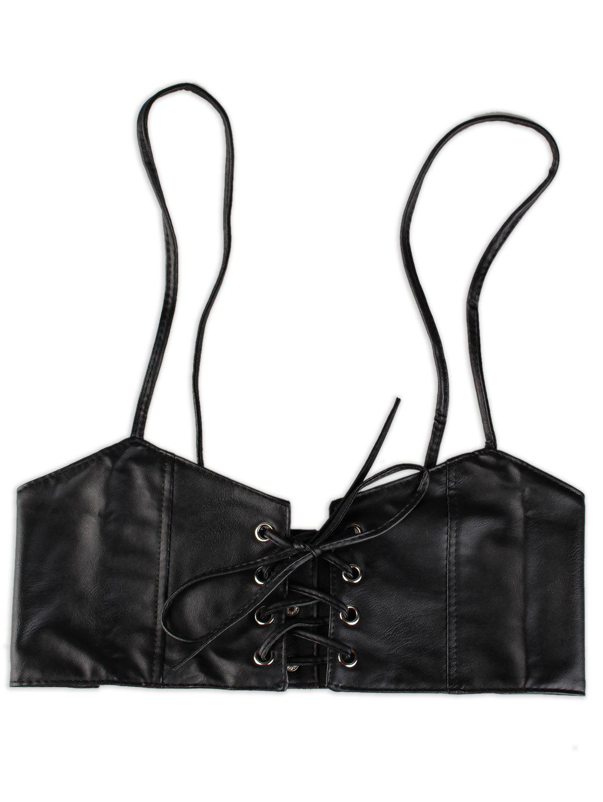 Lace Up Spaghetti Strap High Waist Belt - BLACK