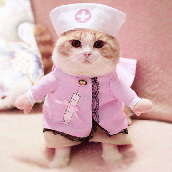 Pet Cat Nurse Costume Dog Cosplay Change Clothes - PINK S