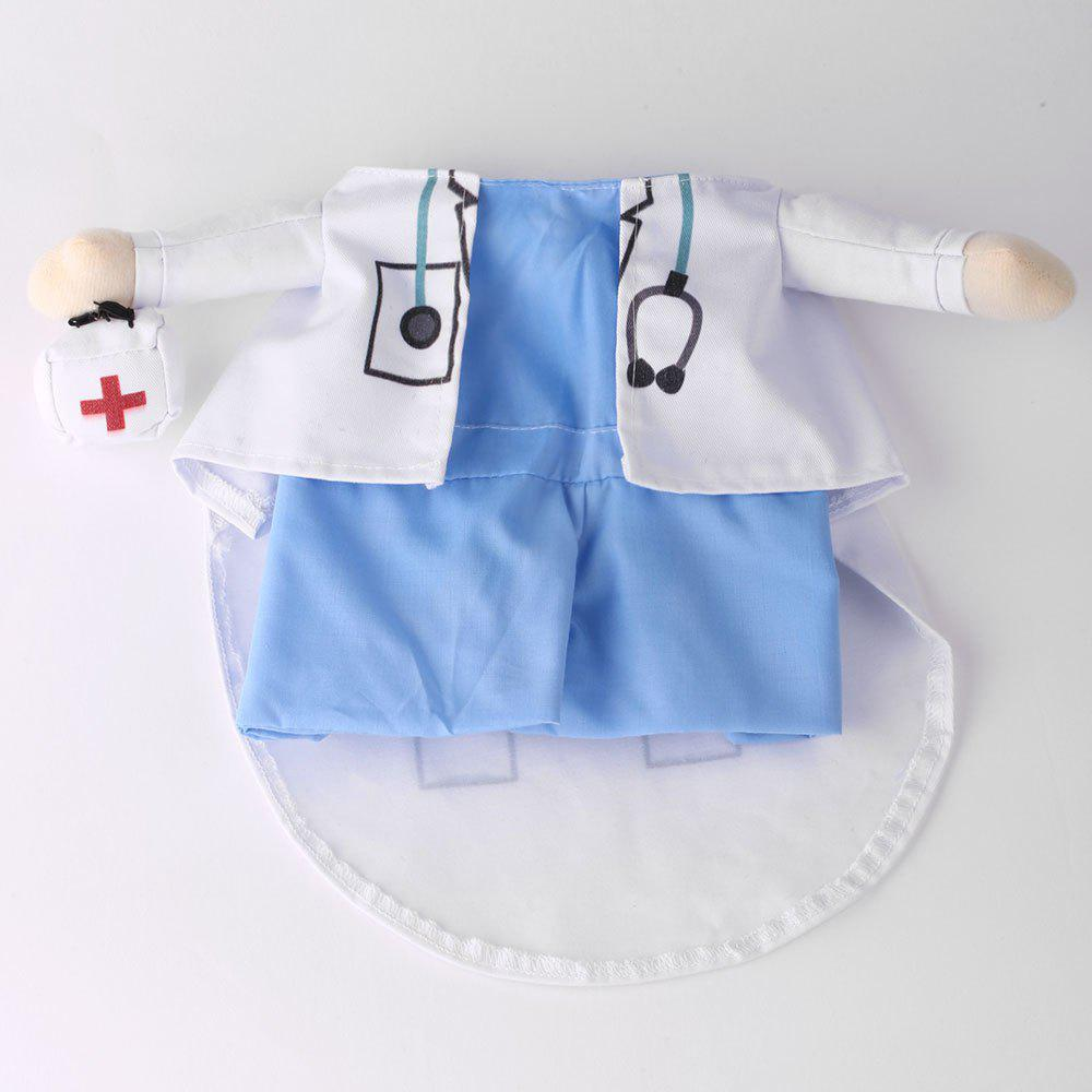 Pet Cat Doctor Costume Dog Cosplay Party Change Clothes - BLUE/WHITE XL