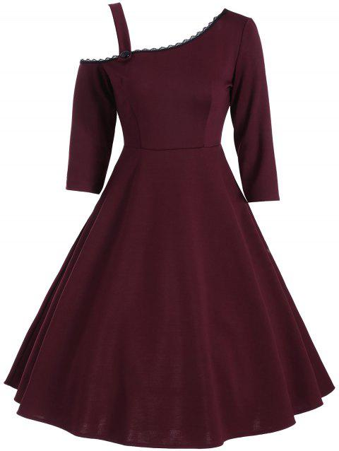 Skew Neck Lace Panel Vintage Dress - WINE RED S