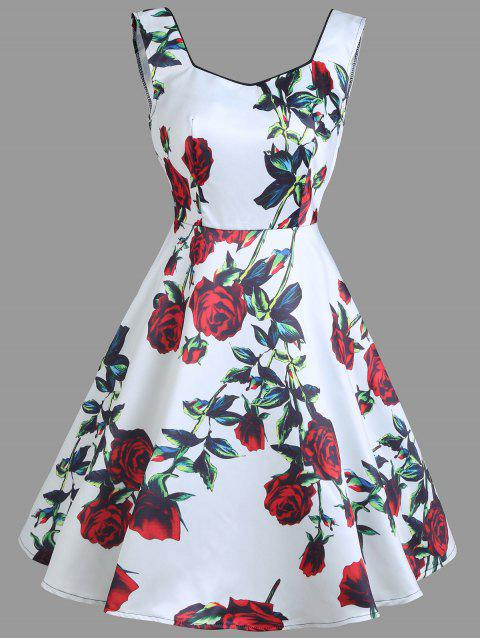 Vintage Floral Print Sleeveless Mini Dress - WHITE S