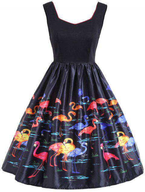 Flamingo Print Sleeveless Vintage Dress - BLACK S