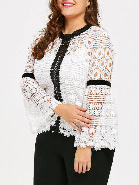 Plus Size Crochet Hollow Out Top with Cami - WHITE XL