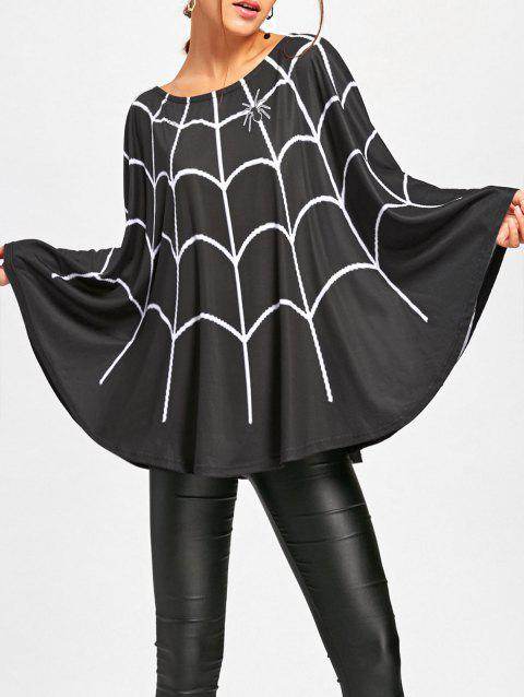 Halloween Spider Web Print Swing Poncho - BLACK L
