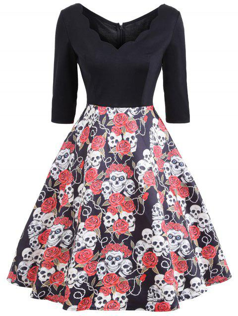 Halloween Floral Skull Print Vintage Dress - COLORMIX S