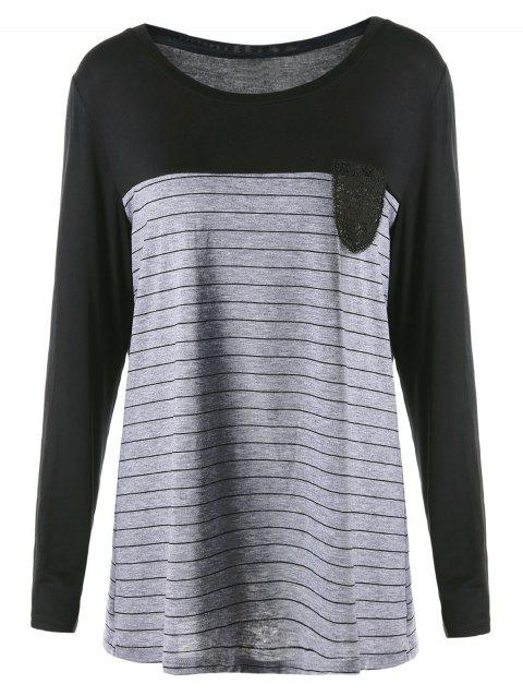 Plus Size Crochet Pocket Striped T-shirt - BLACK 4XL
