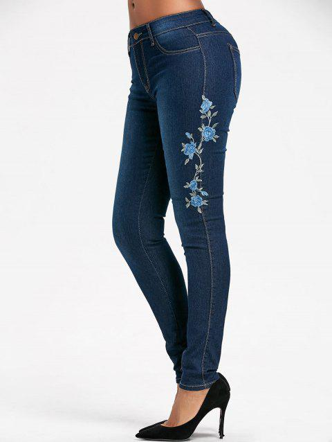 High Waisted Floral Embroidered Skinny Jeans - BLUE XL
