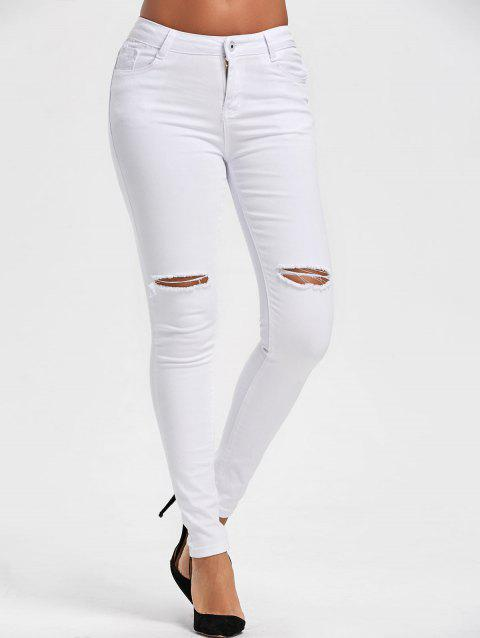 Ripped High Waist Skinny Pants - WHITE S