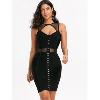 Mesh Insert Cut Out Bandage Dress - M M