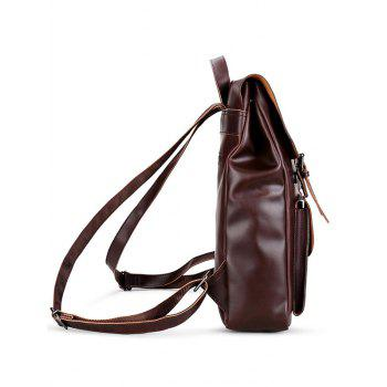 Faux Leather Stud Buckle Straps Backpack -  BROWN