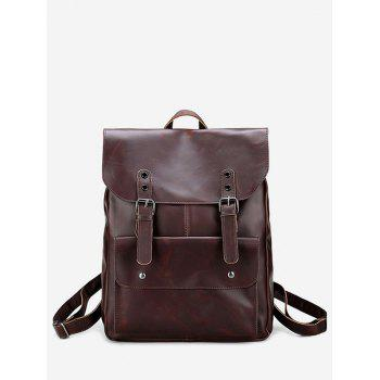 Faux Leather Stud Buckle Straps Backpack - BROWN BROWN