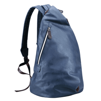 Zipper PU Leather Backpack - BLUE