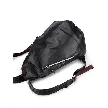 Zipper PU Leather Backpack - BLACK