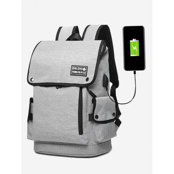 Side Pocket Usb Charging Port Stud Backpack - GRAY GRAY