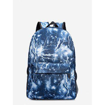 Padded Strap Lightning Printed Backpack - BLUE BLUE