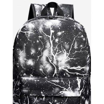 Padded Strap Lightning Printed Backpack -  BLACK