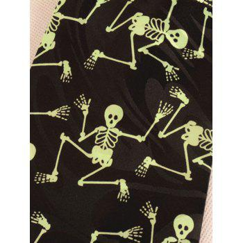 Halloween Skeleton Printed 10CM Width Neck Tie -  YELLOW/BLACK
