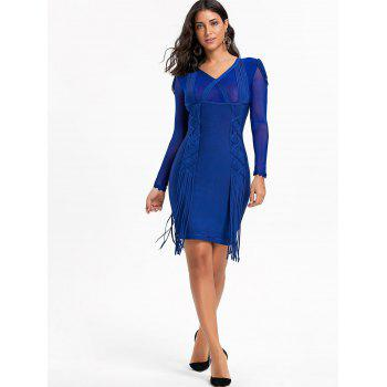 Mesh Long Sleeve Fringe Bandage Dress - M M