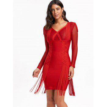 Mesh Long Sleeve Fringe Bandage Dress - RED 2XL
