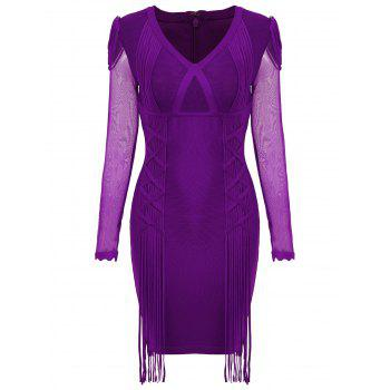 Mesh Long Sleeve Fringe Bandage Dress - PURPLE M
