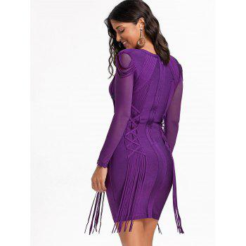 Mesh Long Sleeve Fringe Bandage Dress - XL XL