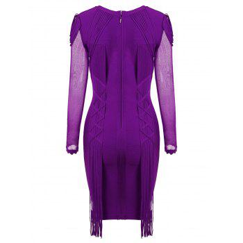 Mesh Long Sleeve Fringe Bandage Dress - PURPLE XL