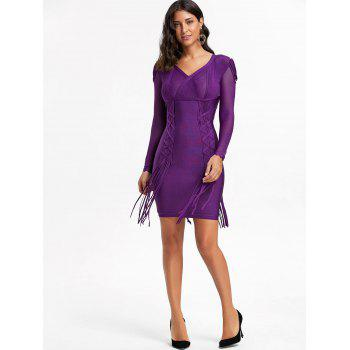 Mesh Long Sleeve Fringe Bandage Dress - PURPLE 2XL