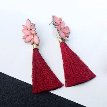 Alloy Faux Crystal Tassel Drop Earrings - RED RED