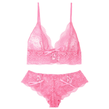 Lace Up Bralette Set - ROSE MADDER S