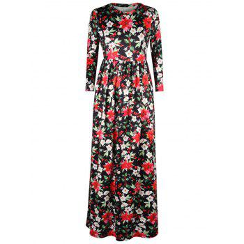 Floral Leaf Print A Line Maxi Dress - BLACK M