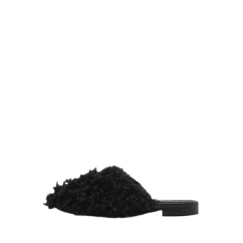 Faux Fur Flat Heel Slippers - 40 40