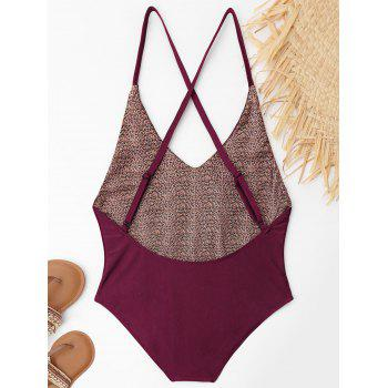 Plus Size Embroidered Criss Cross Swimsuit - WINE RED XL